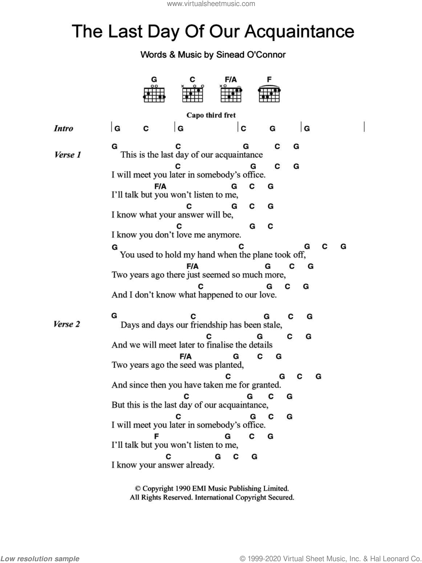 The Last Day Of Our Acquaintance sheet music for guitar (chords) by Sinead O'Connor