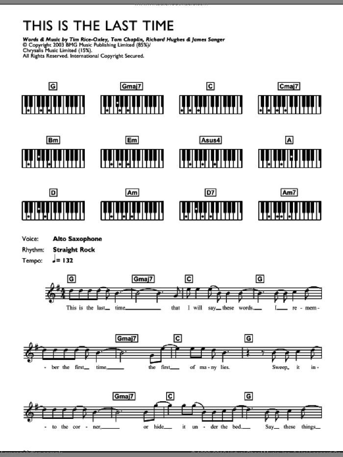 This Is The Last Time sheet music for piano solo (chords, lyrics, melody) by Tim Rice-Oxley, intermediate piano (chords, lyrics, melody). Score Image Preview.