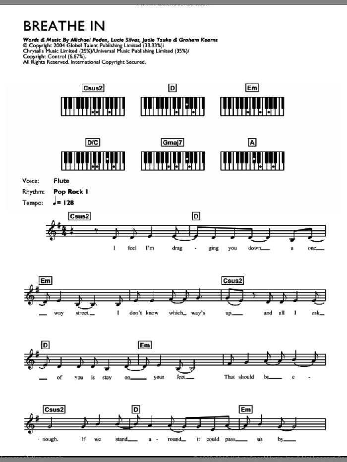 Breathe In sheet music for piano solo (chords, lyrics, melody) by Lucie Silvas and Judie Tzuke, intermediate piano (chords, lyrics, melody). Score Image Preview.