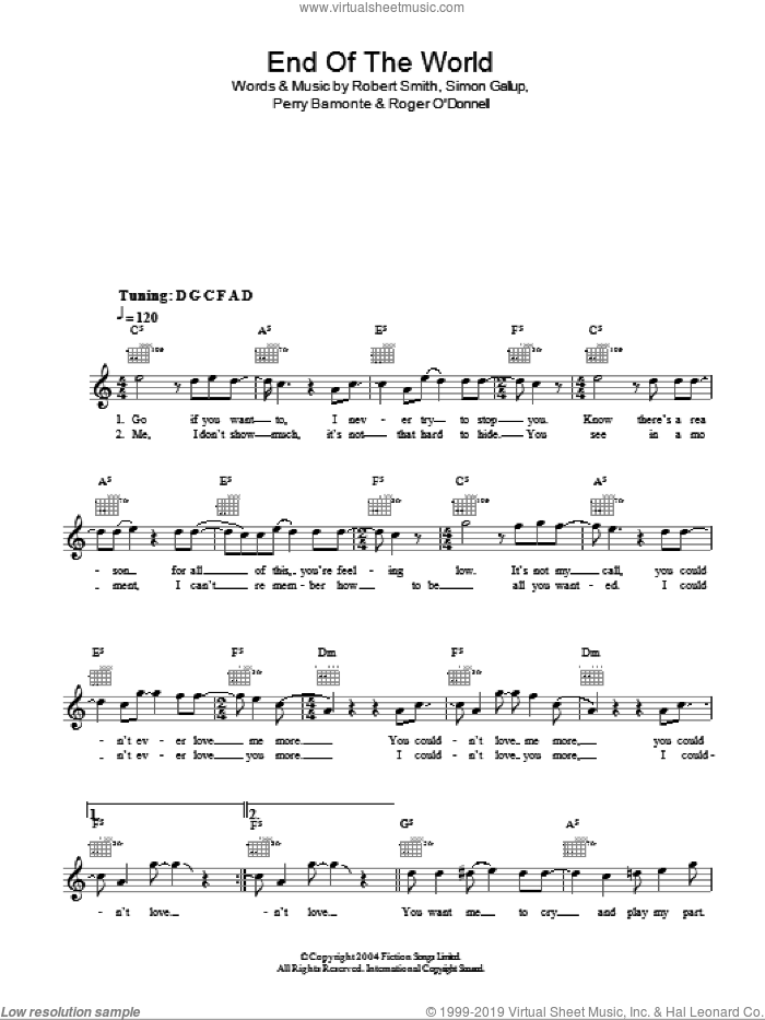 The End Of The World sheet music for voice and other instruments (fake book) by The Cure. Score Image Preview.