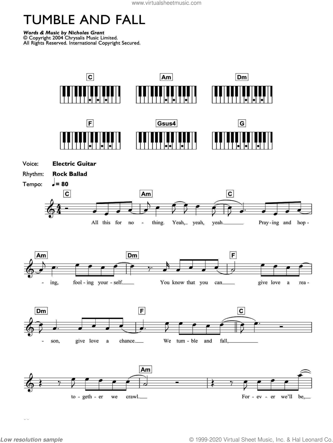 Tumble And Fall sheet music for piano solo (chords, lyrics, melody) by Grant Nicholas and Feeder. Score Image Preview.