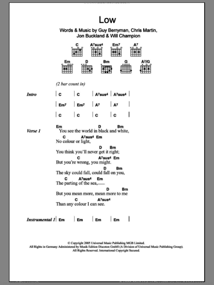 Low sheet music for guitar (chords) by Will Champion