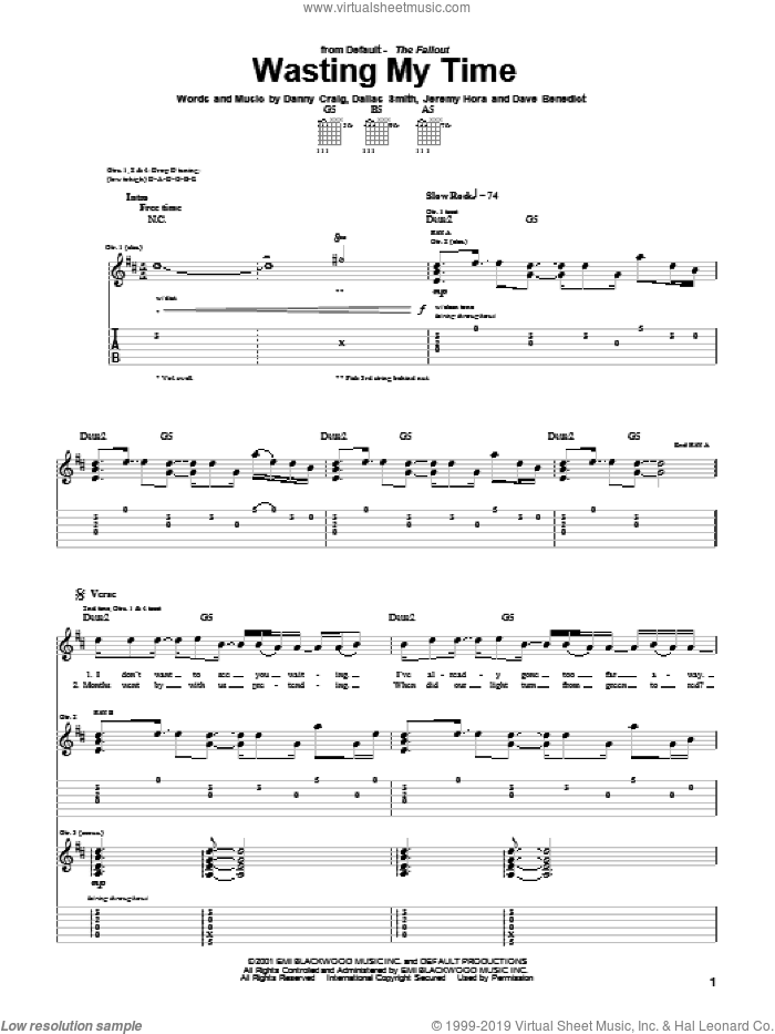 Wasting My Time sheet music for guitar (tablature) by Default, Dallas Smith, Danny Craig and Dave Benedict, intermediate skill level