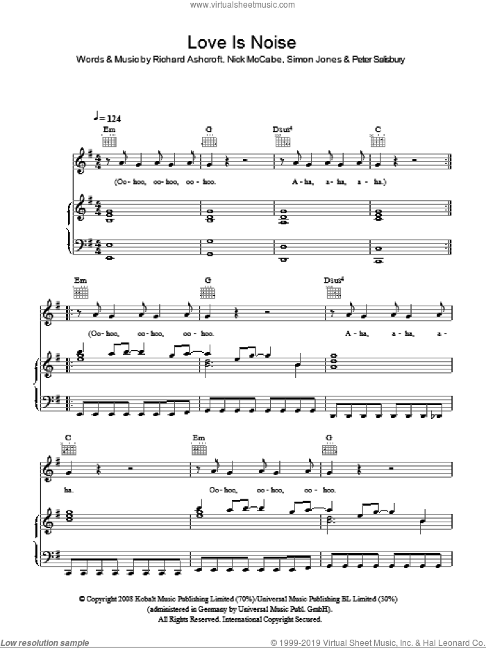 Love Is Noise sheet music for voice, piano or guitar by The Verve, Nick McCabe, Peter Salisbury, Richard Ashcroft and Simon Jones, intermediate skill level