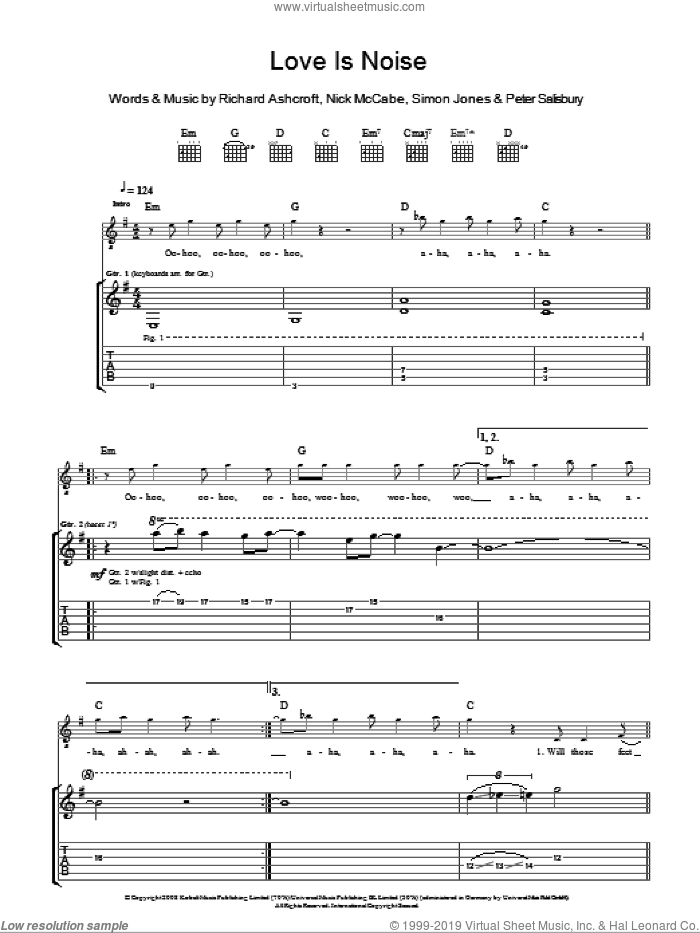 Love Is Noise sheet music for guitar (tablature) by The Verve and Richard Ashcroft. Score Image Preview.