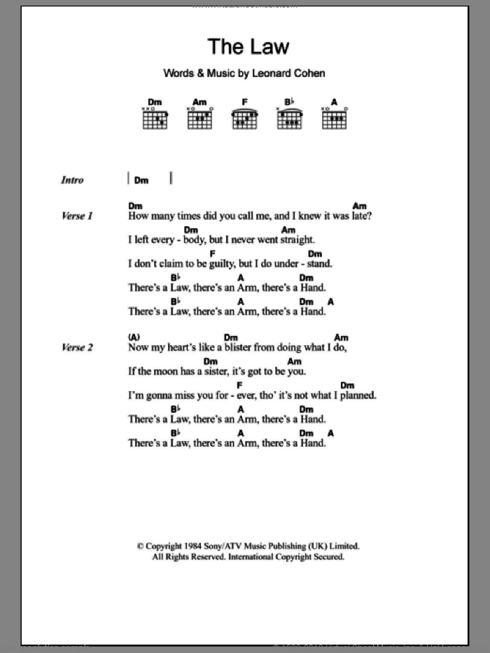The Law sheet music for guitar (chords) by Leonard Cohen. Score Image Preview.