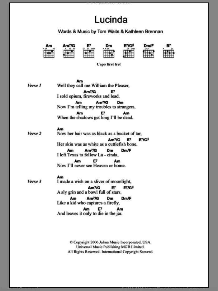 Lucinda sheet music for guitar (chords) by Tom Waits. Score Image Preview.