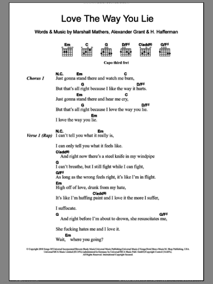 Love The Way You Lie sheet music for guitar (chords) by Marshall Mathers