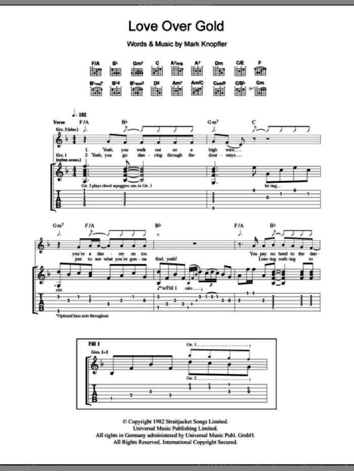 Love Over Gold sheet music for guitar (tablature) by Mark Knopfler