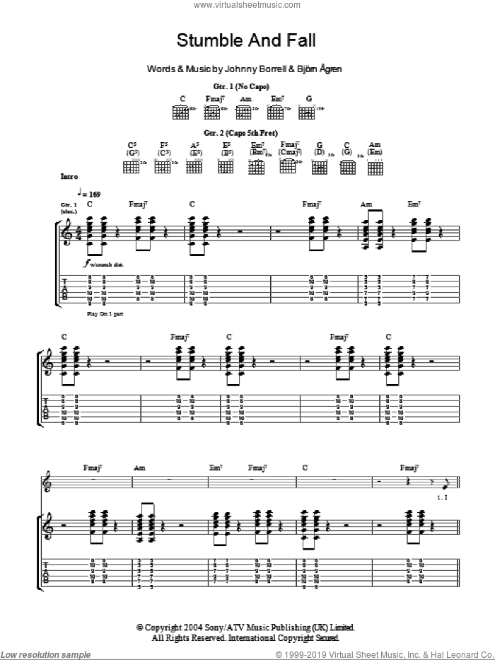 Stumble And Fall sheet music for guitar (tablature) by Razorlight, Bji��rn i��gren, Bjorn Agren and Johnny Borrell, intermediate. Score Image Preview.
