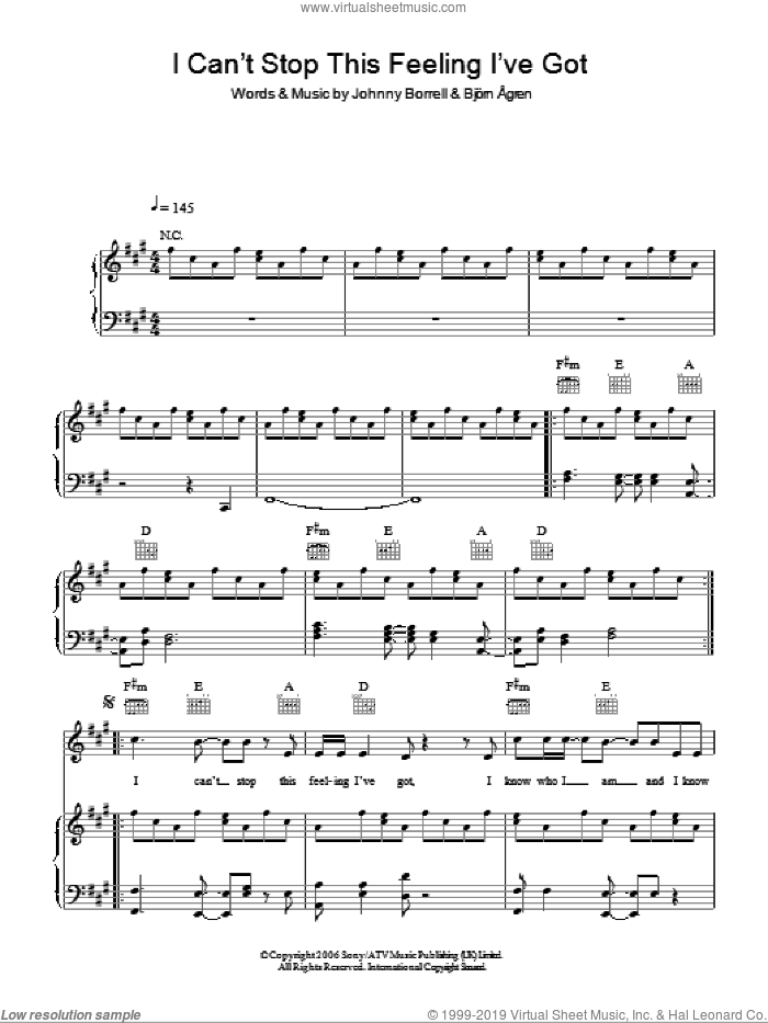 Can't Stop This Feeling I've Got sheet music for voice, piano or guitar by Razorlight, intermediate voice, piano or guitar. Score Image Preview.