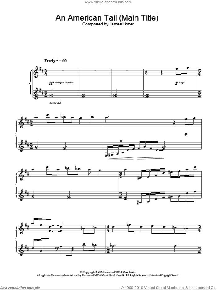 An American Tail (Main Title) sheet music for piano solo by James Horner, intermediate