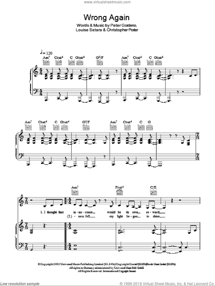 Wrong Again sheet music for voice, piano or guitar by Peter Gordeno. Score Image Preview.