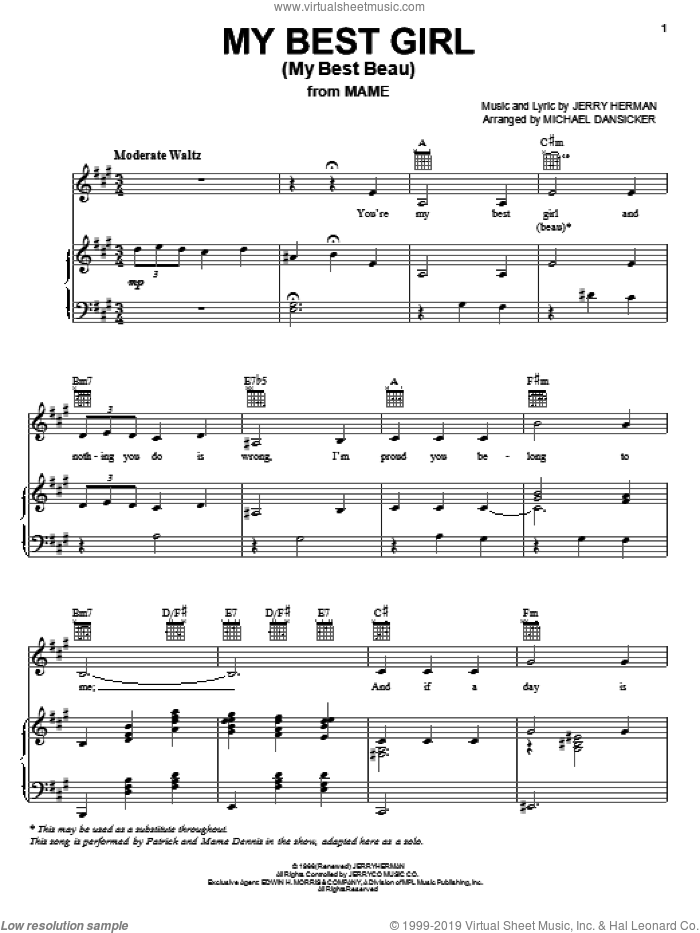 My Best Girl (My Best Beau) sheet music for voice, piano or guitar by Jerry Herman and Mame (Musical), intermediate skill level