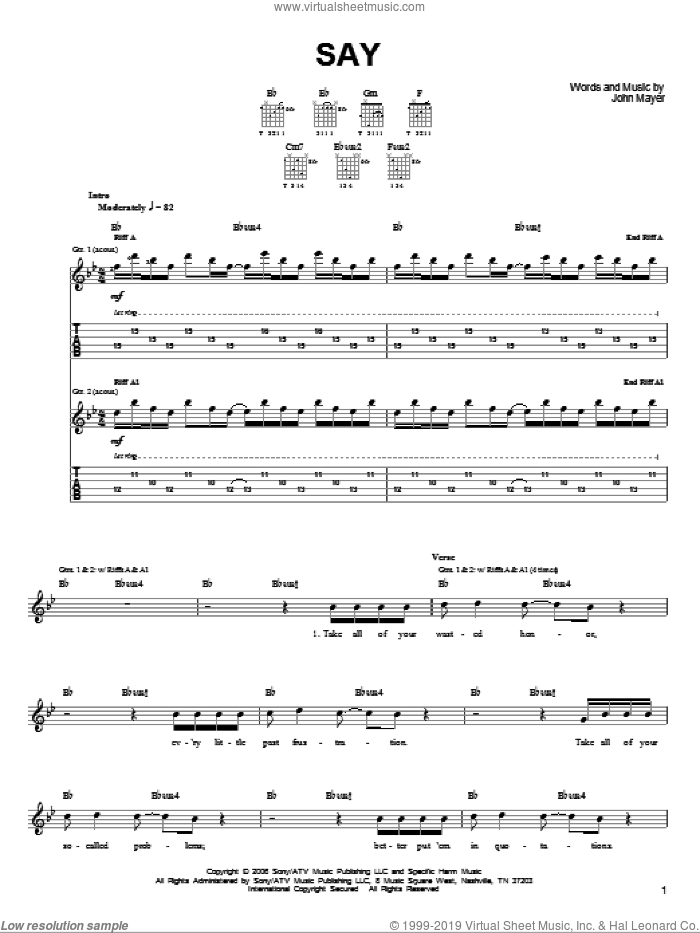 Say sheet music for guitar solo (chords) by John Mayer, easy guitar (chords)