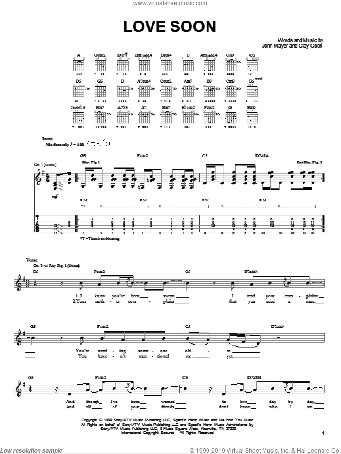 Love Soon sheet music for guitar solo (chords) by Clay Cook and John Mayer. Score Image Preview.