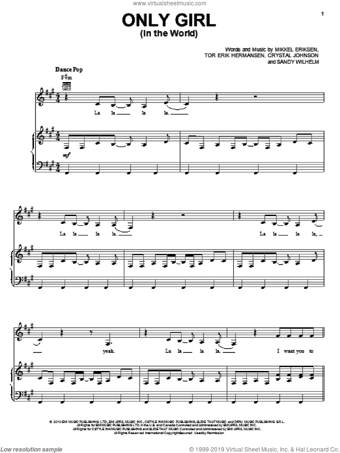 Only Girl (In The World) sheet music for voice, piano or guitar by Rihanna, Crystal Johnson, Mikkel Eriksen, Sandy Wilhelm and Tor Erik Hermansen, intermediate skill level