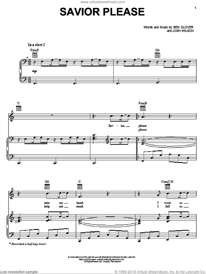 Savior Please sheet music for voice, piano or guitar by Josh Wilson and Ben Glover, intermediate
