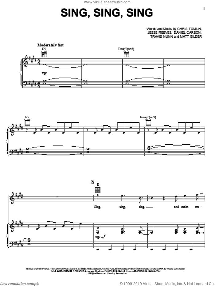 Sing, Sing, Sing sheet music for voice, piano or guitar by Chris Tomlin and Jesse Reeves. Score Image Preview.