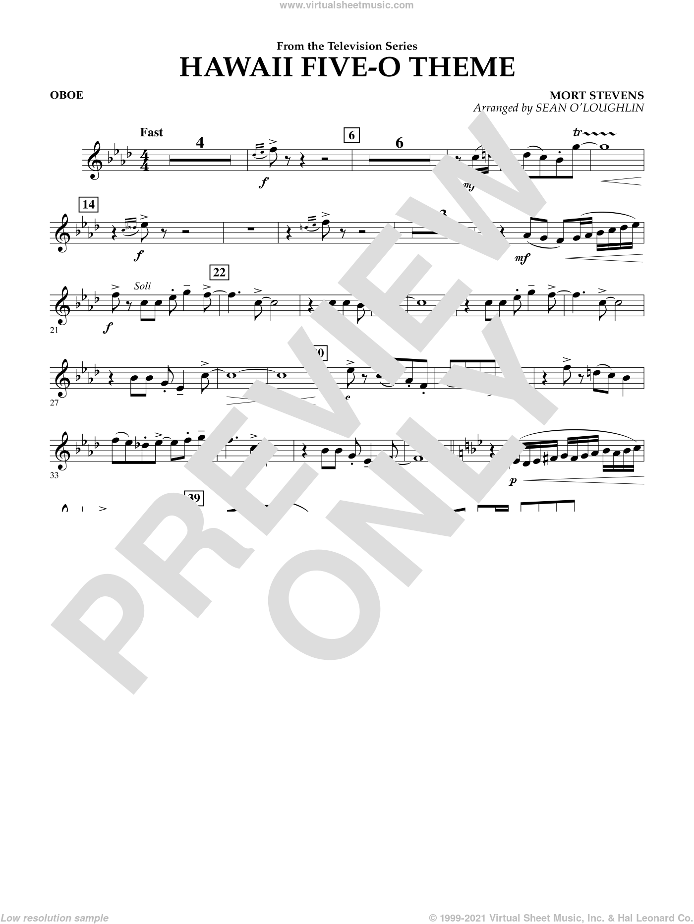 Hawaii Five-O Theme sheet music for concert band (oboe) by Mort Stevens