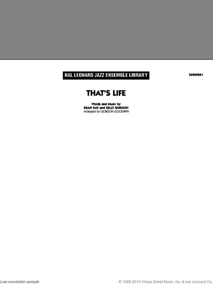 That's Life sheet music for jazz band (full score) by Dean Kay