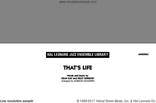 That's Life (COMPLETE) sheet music for jazz band by Dean Kay