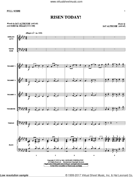 Risen Today! (COMPLETE) sheet music for orchestra by Jay Althouse