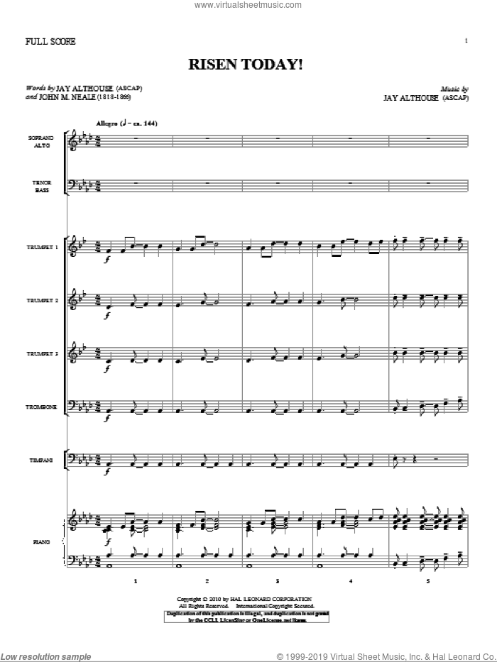 Risen Today! (complete set of parts) sheet music for orchestra/band (Orchestra) by Jay Althouse and John Mason Neale, intermediate. Score Image Preview.