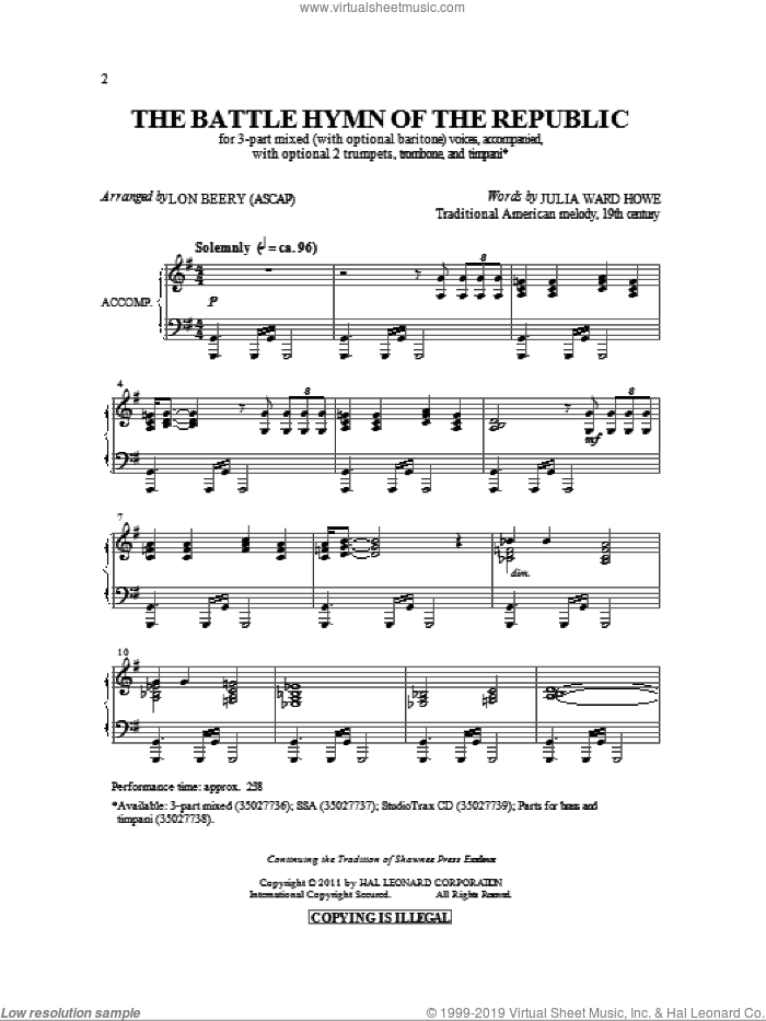 Battle Hymn Of The Republic sheet music for choir and piano (chamber ensemble) by Julia Ward Howe, Lon Beery and William Steffe. Score Image Preview.