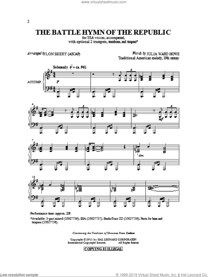 Battle Hymn Of The Republic sheet music for choir and piano (SSA) by Julia Ward Howe, Lon Beery and William Steffe. Score Image Preview.
