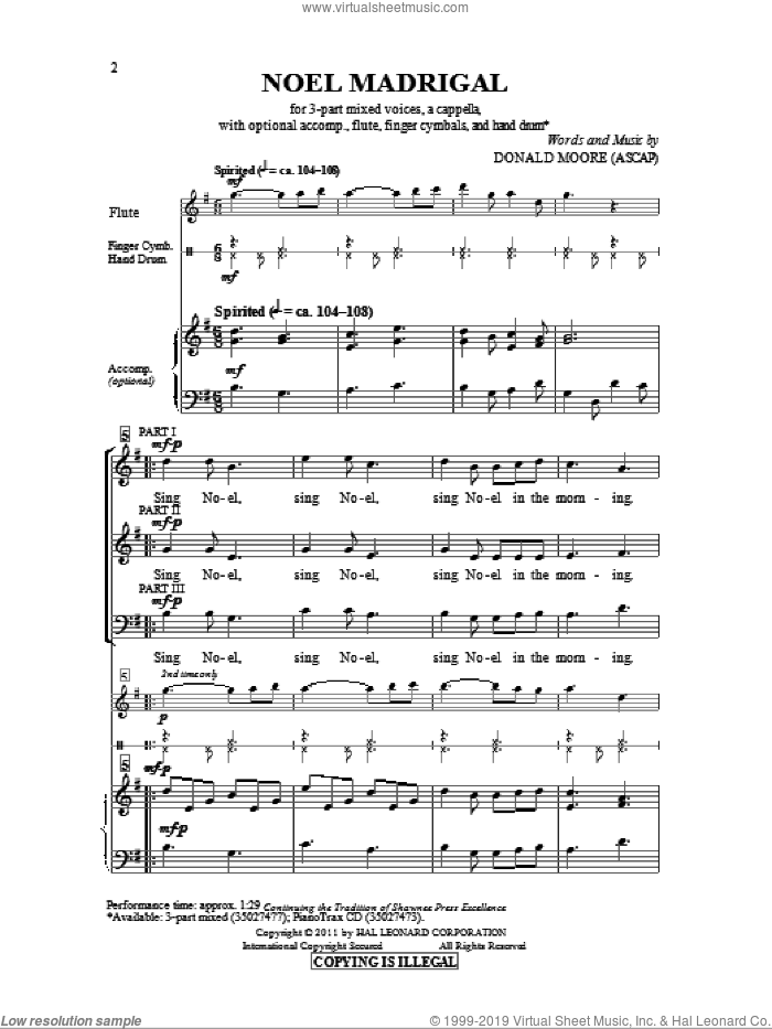 Noel Madrigal sheet music for choir (3-Part Mixed) by Donald Moore, intermediate skill level