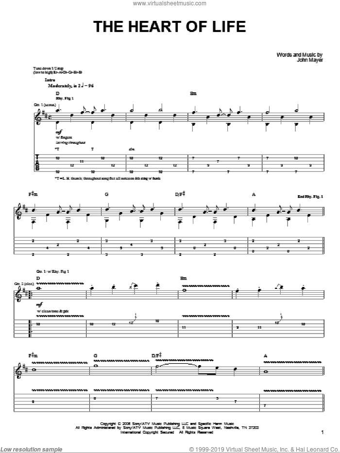 The Heart Of Life sheet music for guitar solo (chords) by John Mayer