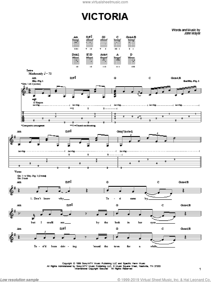 Victoria sheet music for guitar solo (chords) by John Mayer. Score Image Preview.