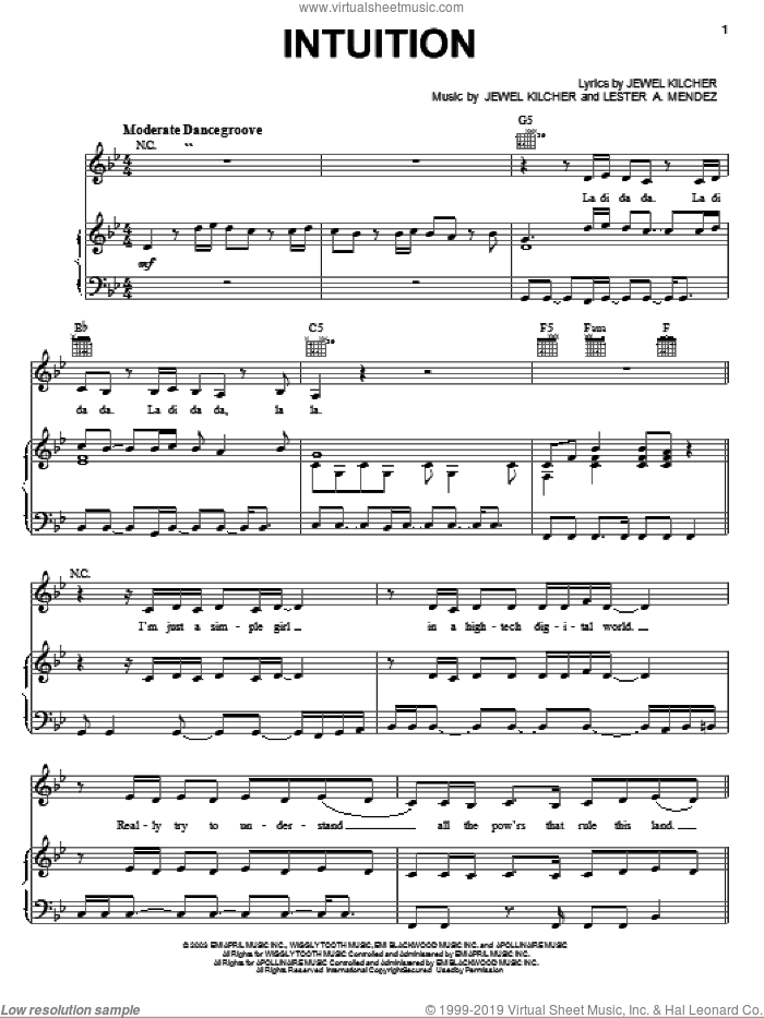 Intuition sheet music for voice, piano or guitar by Jewel and Jewel Kilcher, intermediate. Score Image Preview.