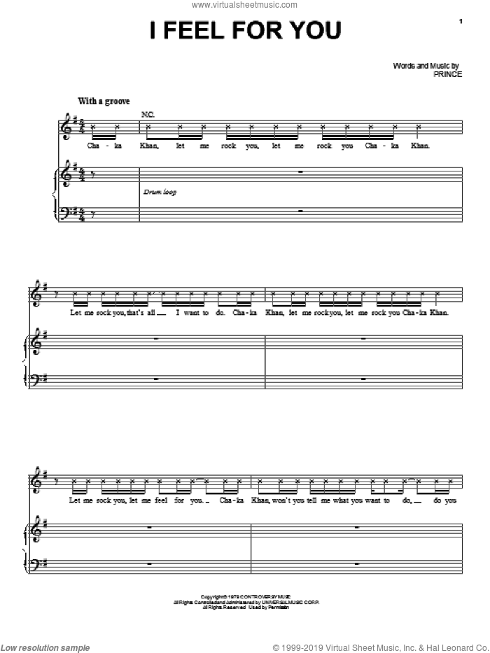 I Feel For You sheet music for voice, piano or guitar by Chaka Khan and Prince. Score Image Preview.
