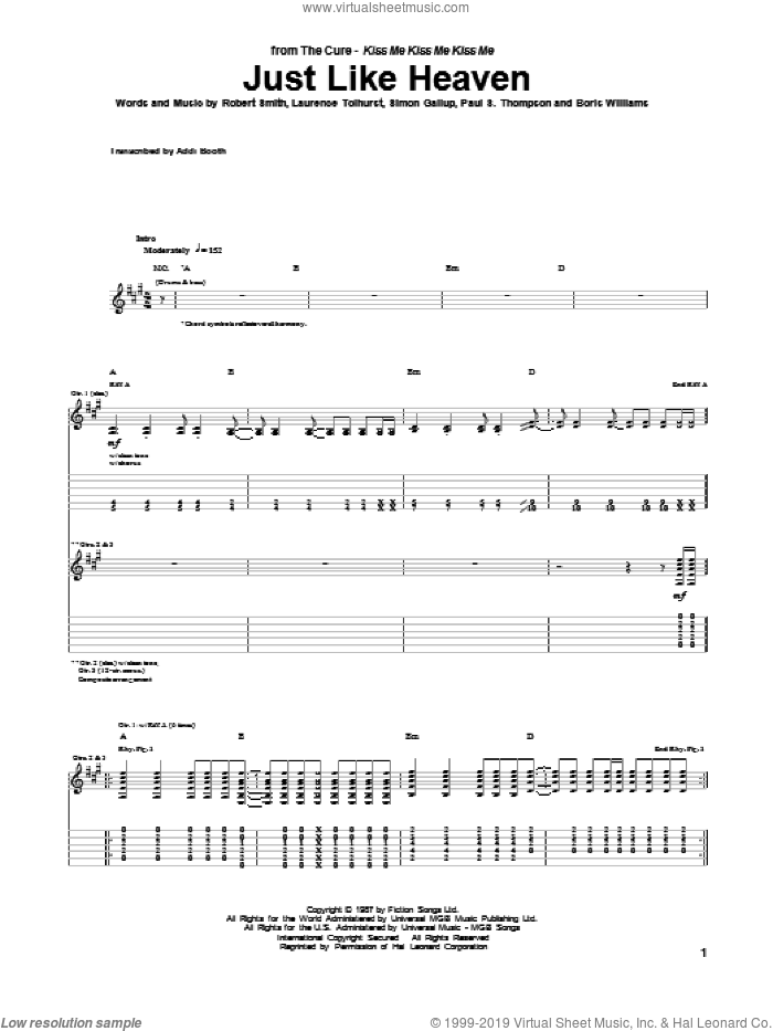 Just Like Heaven sheet music for guitar (tablature) by The Cure. Score Image Preview.