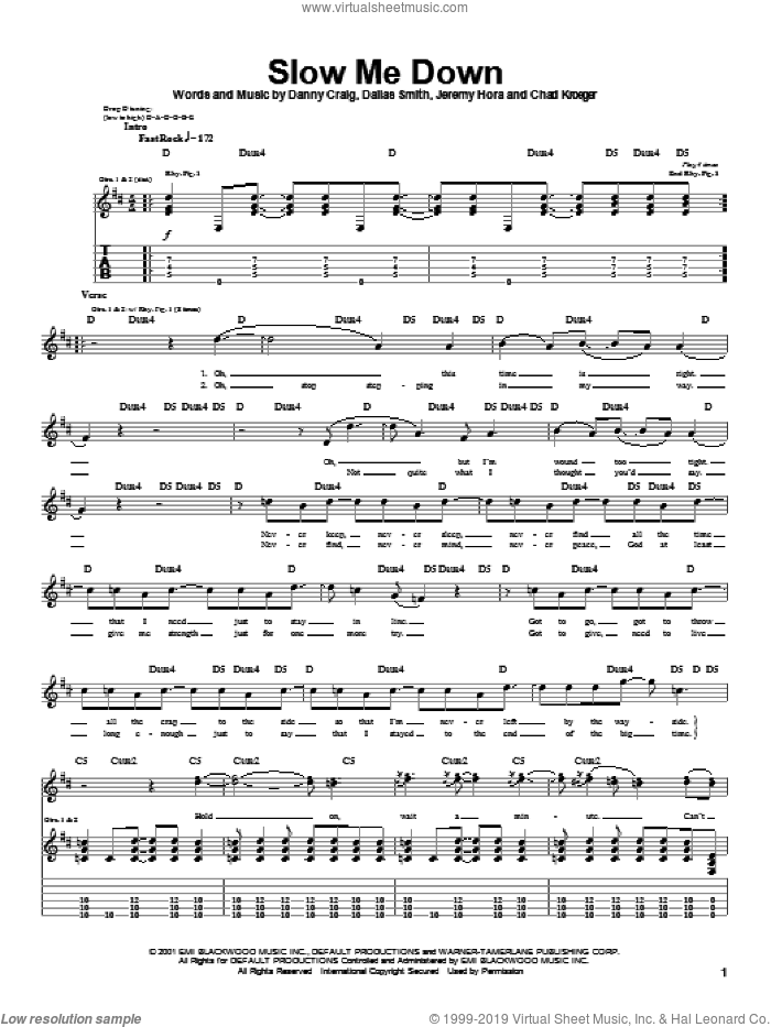 Slow Me Down sheet music for guitar (tablature) by Danny Craig, Default and Chad Kroeger. Score Image Preview.