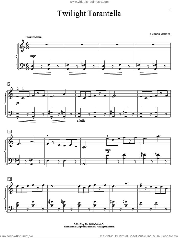 Twilight Tarantella sheet music for piano solo (elementary) by Glenda Austin, classical score, beginner piano (elementary)