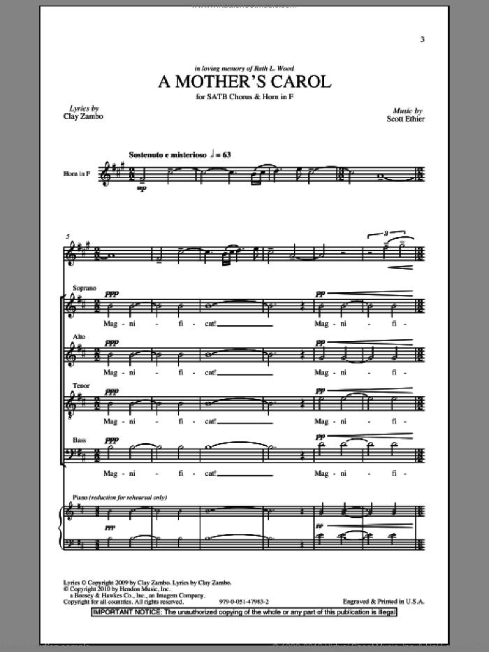 A Mother's Carol sheet music for choir (SATB: soprano, alto, tenor, bass) by Clay Zambo and Scott Ethier, intermediate skill level