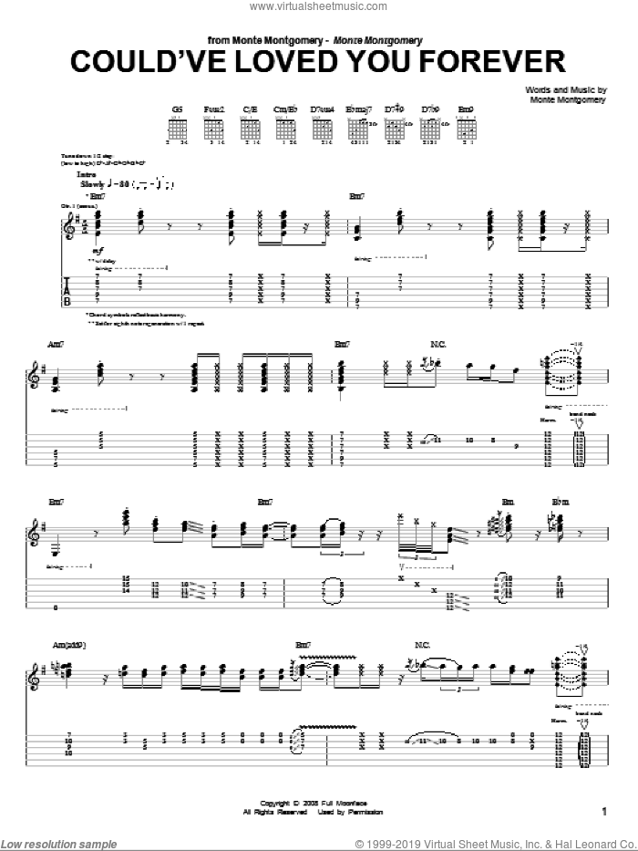 Could've Loved You Forever sheet music for guitar (tablature) by Monte Montgomery, intermediate skill level