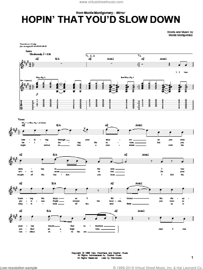 Hopin' That You'd Slow Down sheet music for guitar (tablature) by Monte Montgomery. Score Image Preview.
