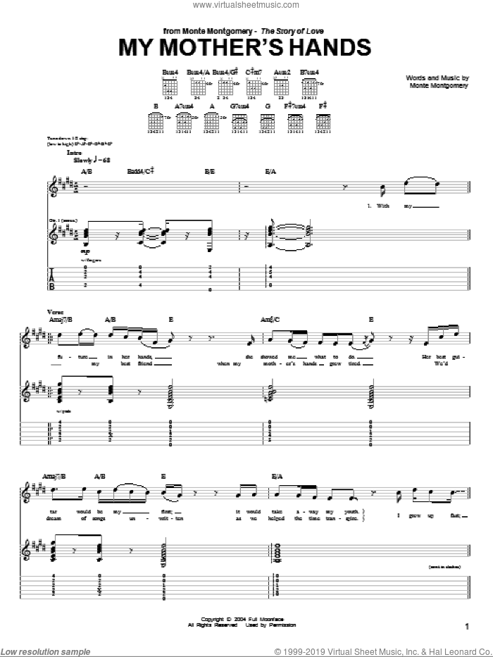 My Mother's Hands sheet music for guitar (tablature) by Monte Montgomery. Score Image Preview.