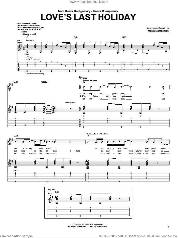 Love's Last Holiday sheet music for guitar (tablature) by Monte Montgomery. Score Image Preview.