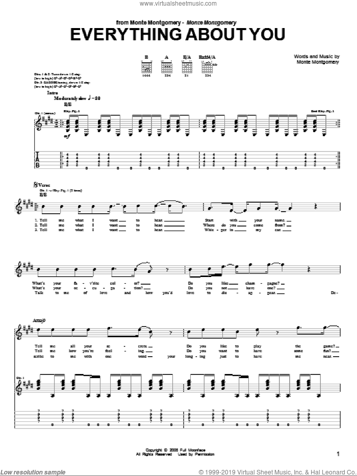 Everything About You sheet music for guitar (tablature) by Monte Montgomery. Score Image Preview.