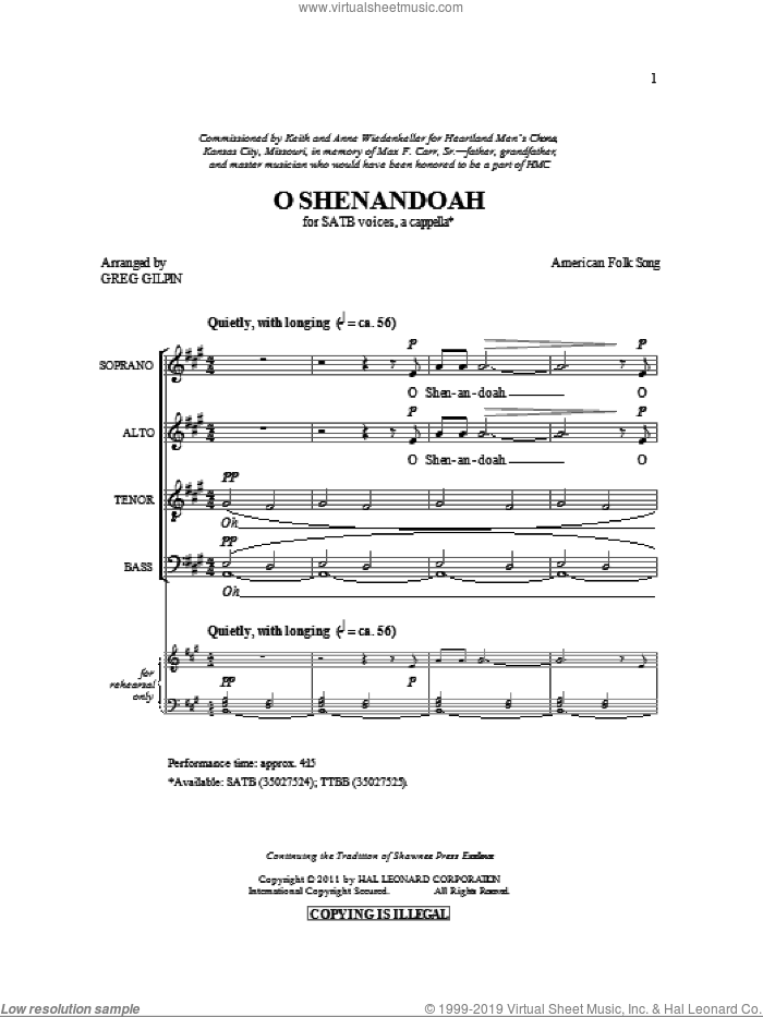 Shenandoah sheet music for choir (SATB: soprano, alto, tenor, bass) by Greg Gilpin and Miscellaneous, intermediate