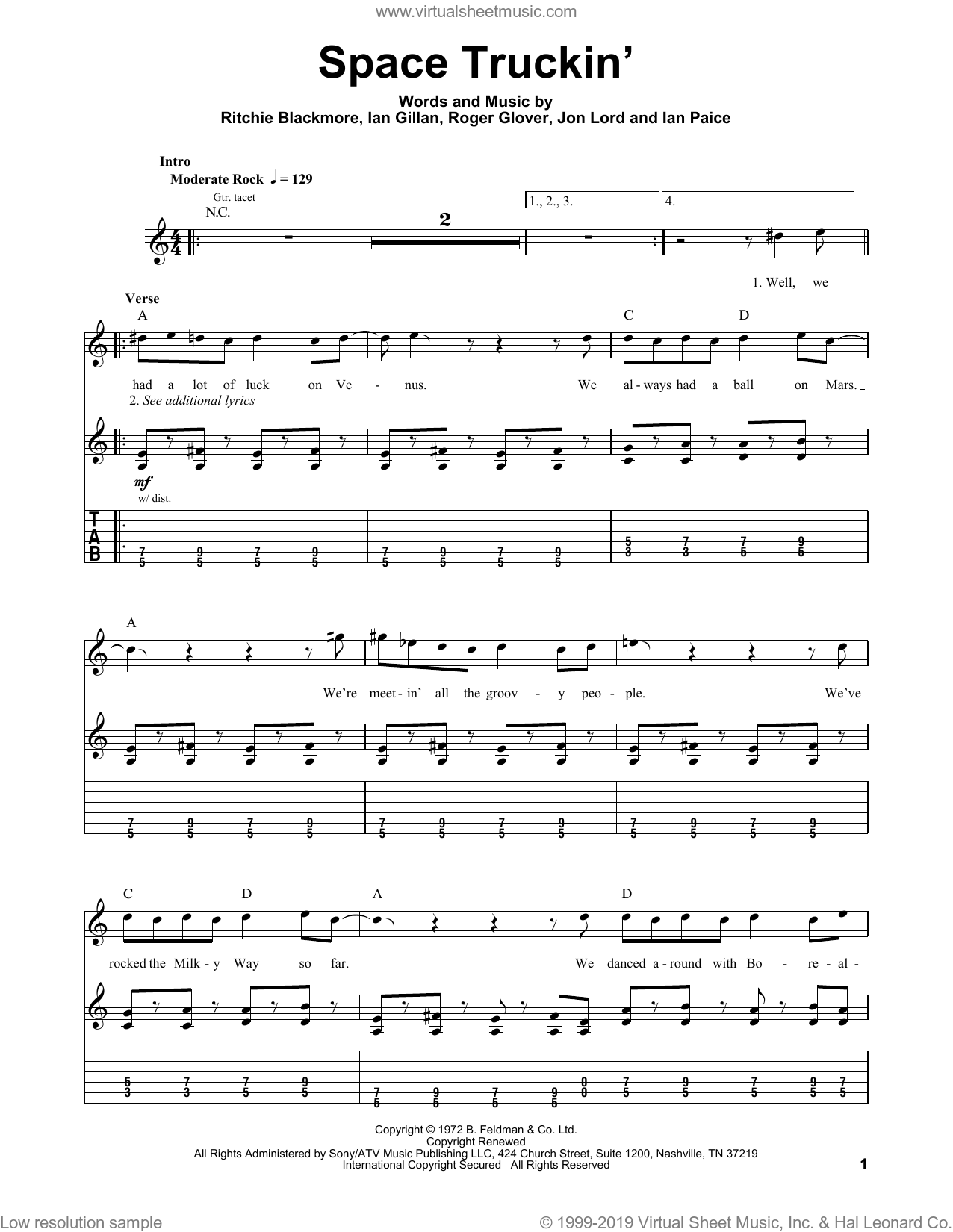 Space Truckin' sheet music for guitar (tablature, play-along) by Roger Glover