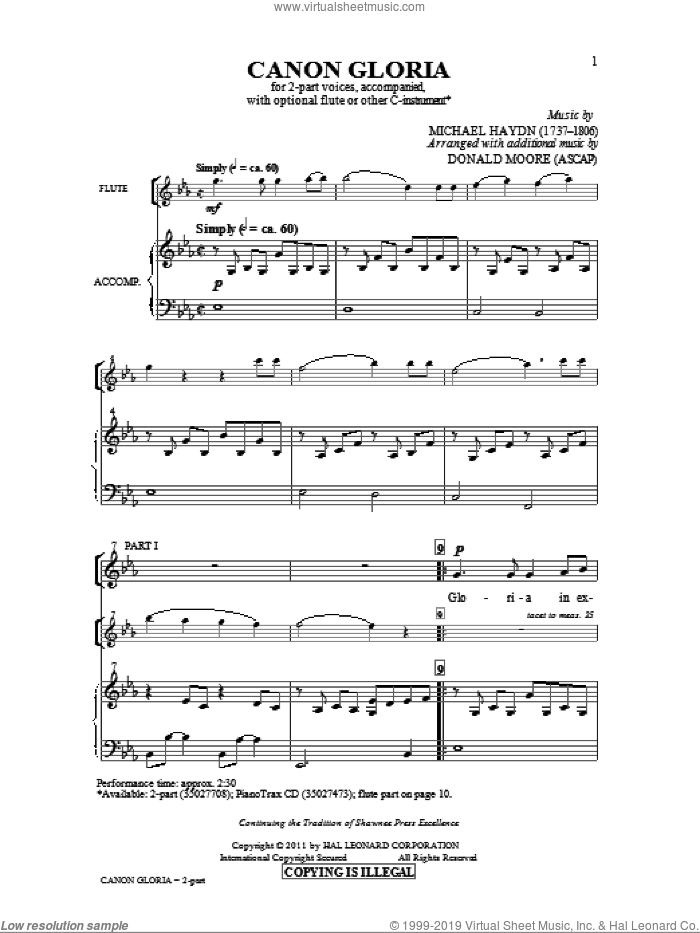 Canon Gloria sheet music for choir (duets) by Johann Michael Haydn and Donald Moore. Score Image Preview.