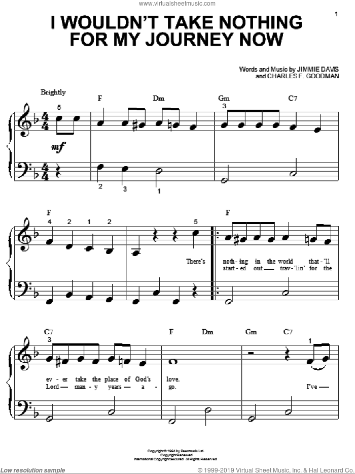 I Wouldn't Take Nothing For My Journey Now sheet music for piano solo (big note book) by Jimmie Davis and Charles F. Goodman, easy piano (big note book)
