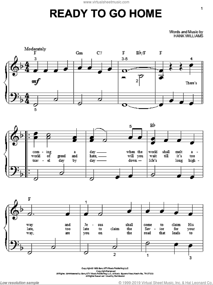 Ready To Go Home sheet music for piano solo (big note book) by Hank Williams, easy piano (big note book). Score Image Preview.