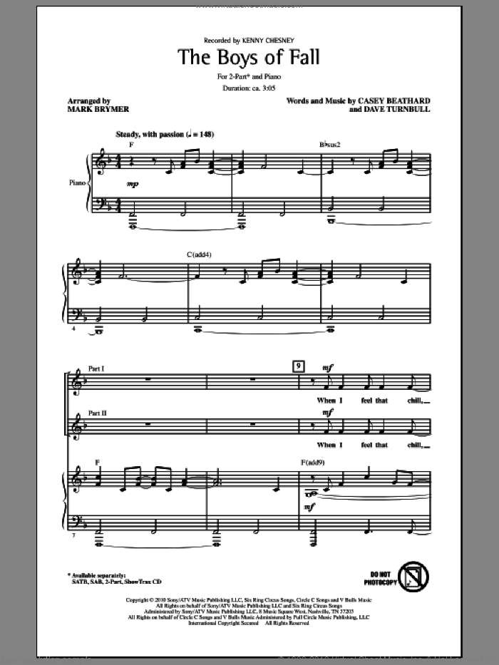 The Boys Of Fall sheet music for choir (2-Part) by Mark Brymer, Casey Beathard, Dave Turnbull and Kenny Chesney, intermediate duet
